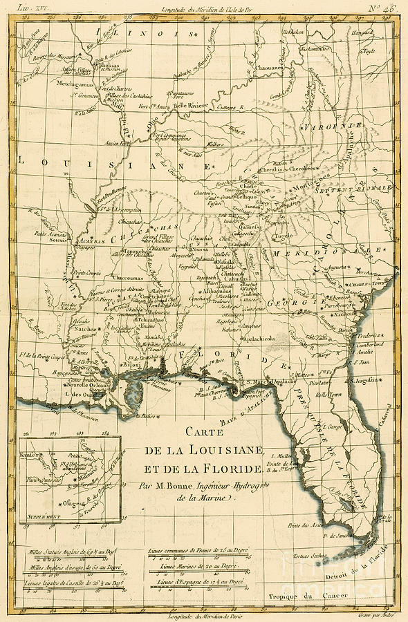 Engraving Drawing - Antique Map Of Louisiana And Florida by Guillaume Raynal