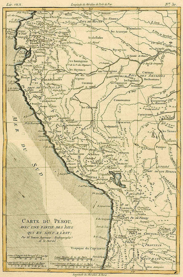 Maps Drawing - Antique Map Of Peru by Guillaume Raynal