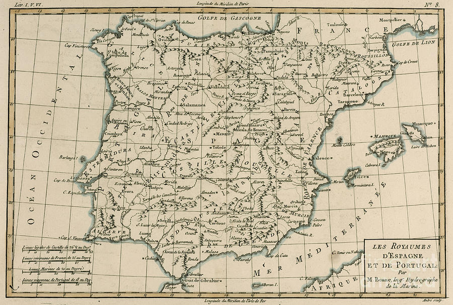 Maps Drawing - Antique Map Of Spain by Guillaume Raynal