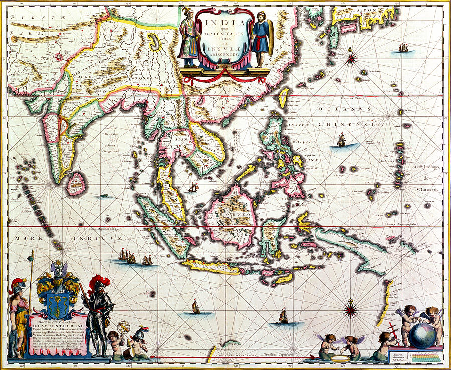 Maps Drawing - Antique Map Showing Southeast Asia And The East Indies by Willem Blaeu