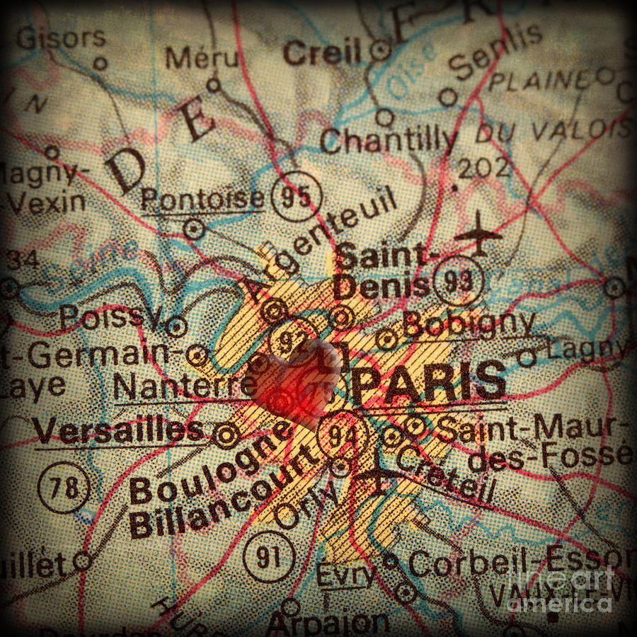 Paris Photograph - Antique Map With A Heart Over The City Of Paris In France by ELITE IMAGE photography By Chad McDermott