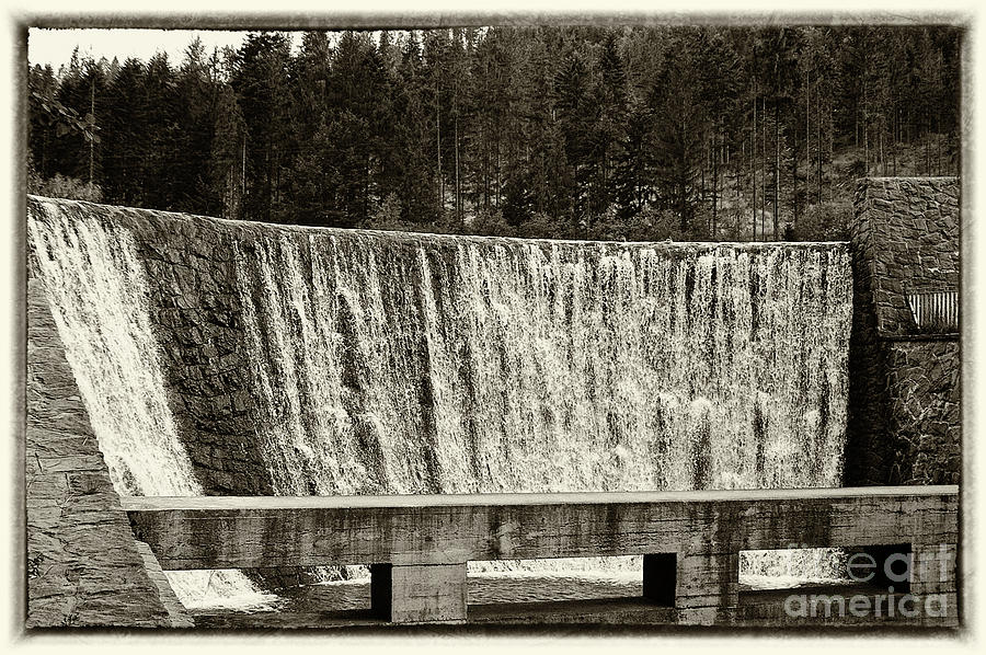 Antique Photograph - Antique Polish Waterfall by Mariola Bitner