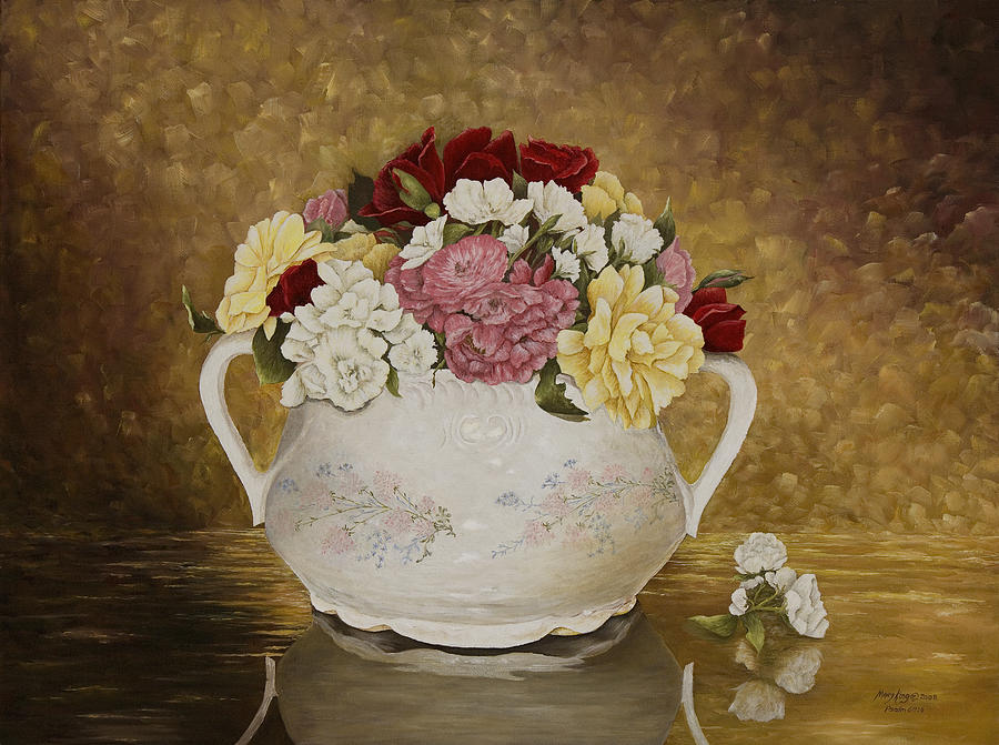 Yellow Roses Painting - Antique Roses by Mary Ann King