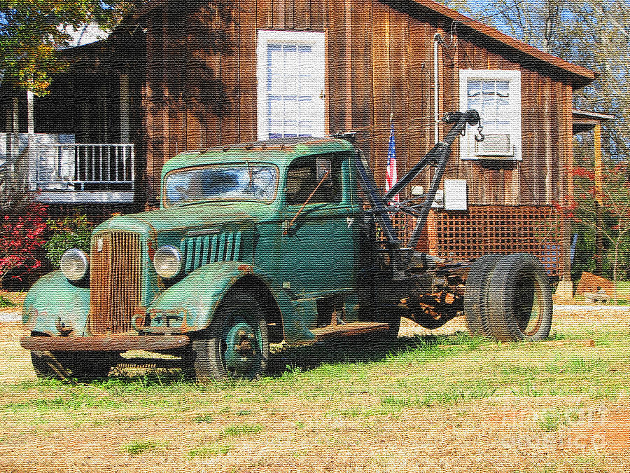 Antique Car Photograph - Antique Tow Truck Textured by Barbara Bowen