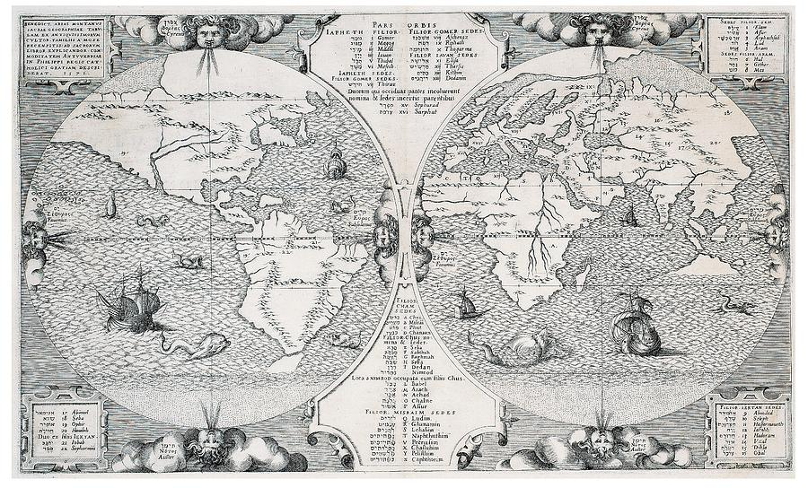 Antique World Map Drawing By Benito Arias Montano - Antique world map picture