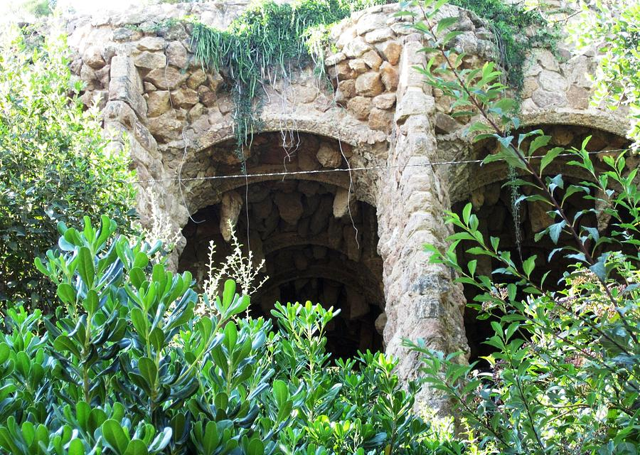Parc Guell Photograph - Antoni Gaudi Columns And Stone Work In Park Guell Barcelona Spain by John Shiron