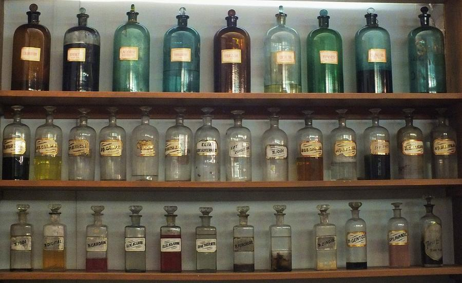 Antique Bottles Photograph - Apocethary Jars by Anna Villarreal Garbis