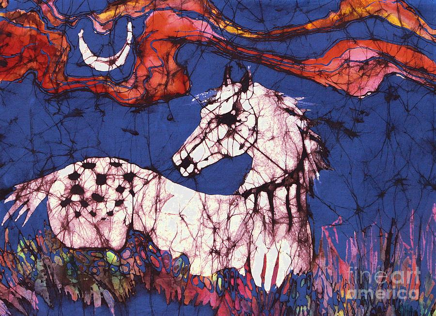 Batik Tapestry - Textile - Appaloosa In Flower Field by Carol Law Conklin