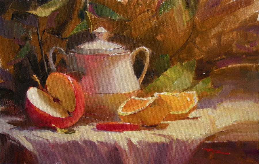 Still Life Painting - Apple And Orange by Richard Robinson