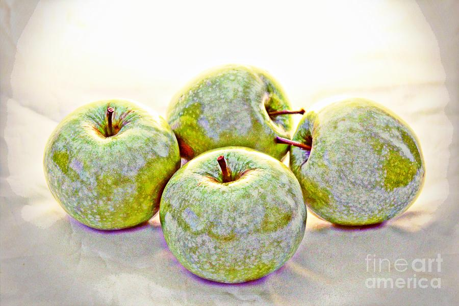 Apple Fruit Food Kitchen White Dust Kitchen Garden Vegetable Green  Art Wall Girls  Digital Art - Apple Dust by David Taylor