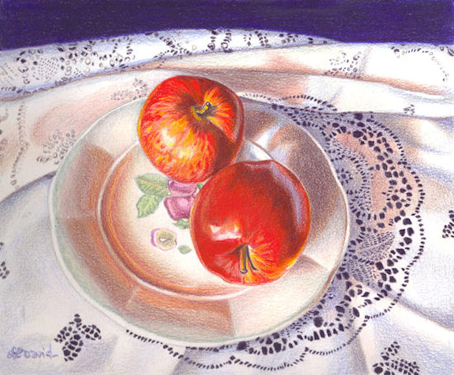 Still Life Drawing - Apples And Lace by Lidia Penczar