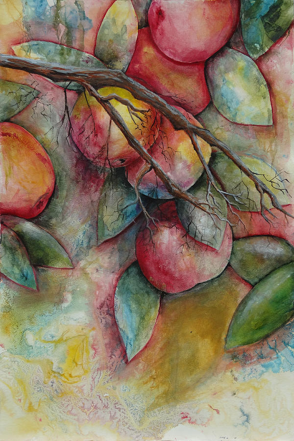 Apples Painting - Apples On A Tree by Jean Rascher