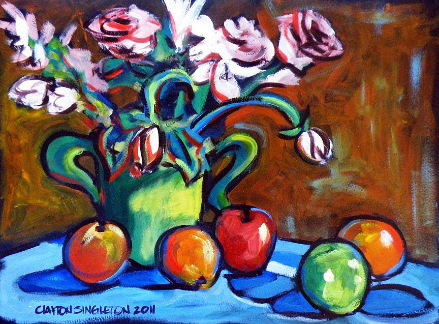 Apples Oranges Roses Painting by Clayton Singleton