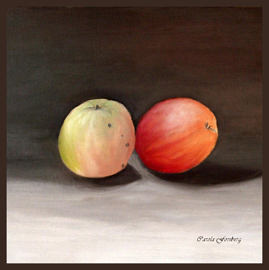 Two Apples Painting - Apples Still Life by Carola Ann-Margret Forsberg