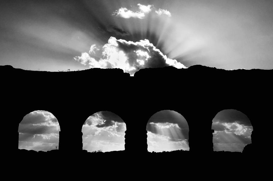 Silhouette Photograph - Aqua Claudia Aqueduct by Fabrizio Troiani