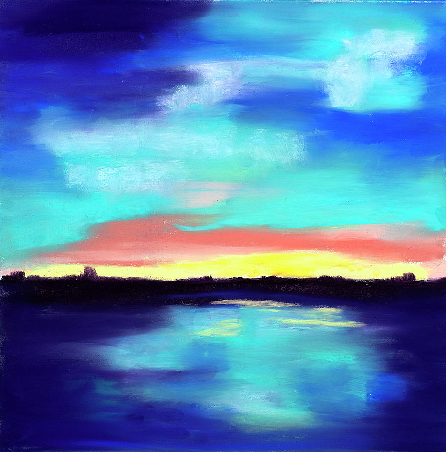 Landscape Pastel - Aqua Reflections by Diana Tripp
