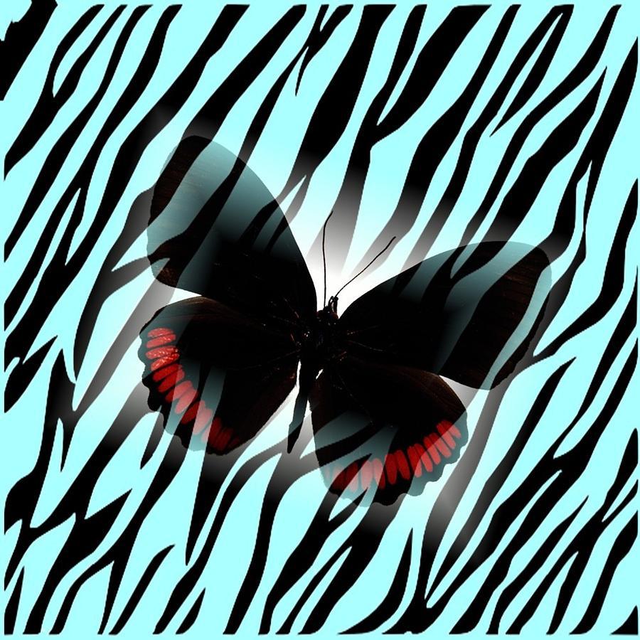 Patter Digital Art - Aqua Zebra With Black Butterfly by Florene Welebny