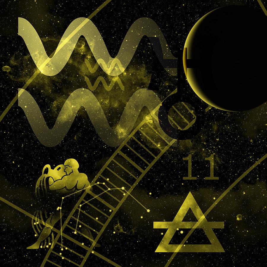 Horoscope Digital Art - Aquarius by JP Rhea
