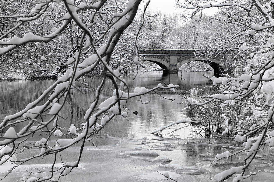 Horizontal Photograph - Arch Bridge Over Frozen River In Winter by Enzo Figueres