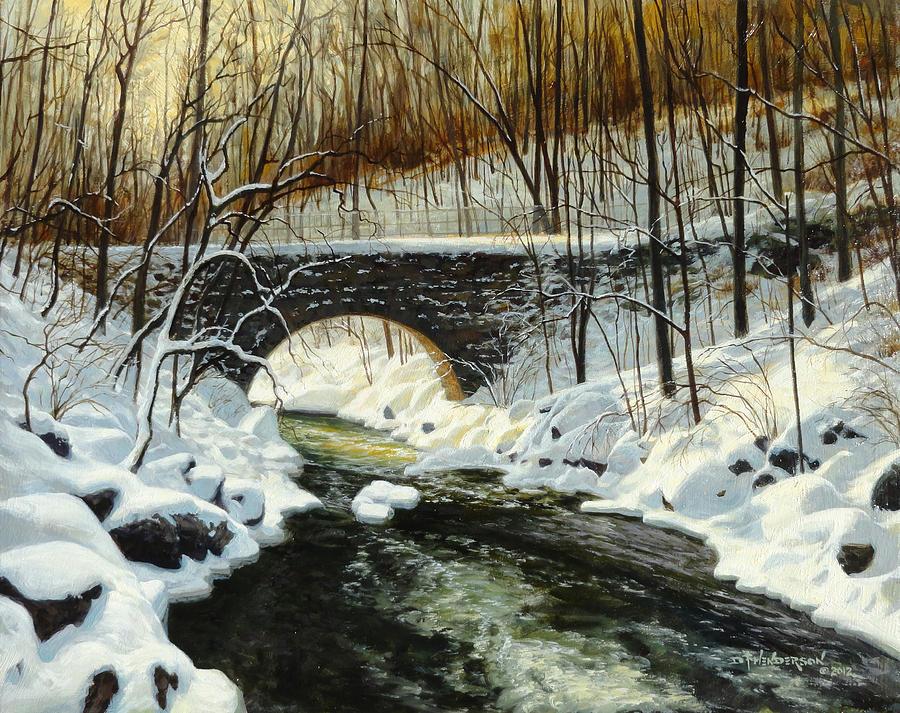 Arch Bridge Painting - Arch Bridge Winter by David Henderson