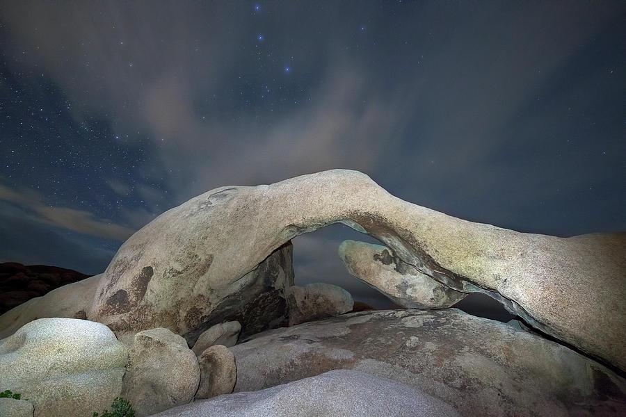 Horizontal Photograph - Arch Rock With Stars, Joshua Tree National Park by Daniel Osterkamp