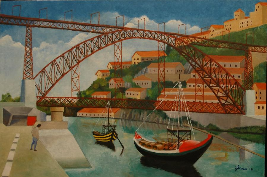 Arch Span Porto Portugal Painting By Lester Glass