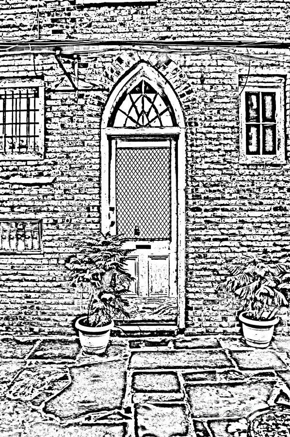 New Orleans Digital Art - Arched Doorway French Quarter New Orleans Photocopy Digital Art by Shawn OBrien