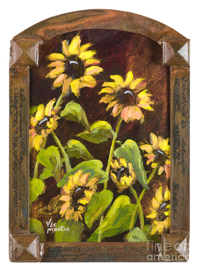 Arched Painting - Arched Sunflowers With Gold Leaf By Vic Mastis by Vic  Mastis
