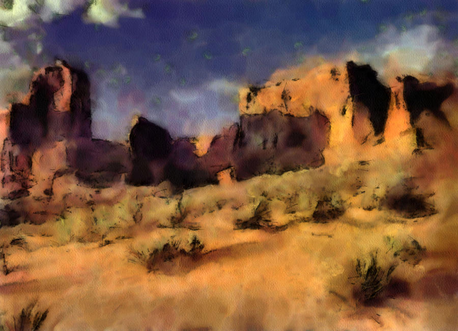 Utah Digital Art - Arches National Monument-utah by Elaine Frink