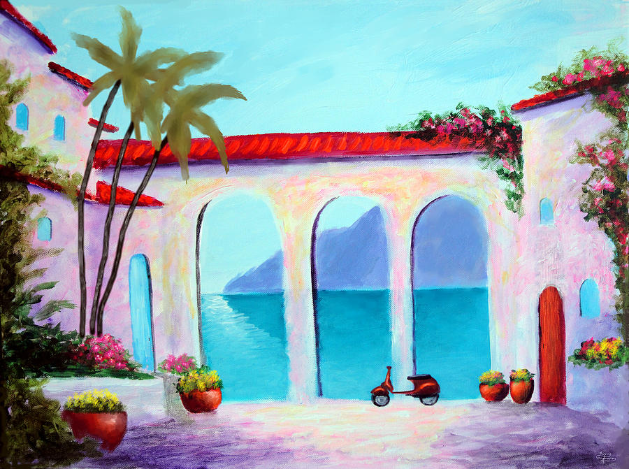 Lake Como Painting - Arches Of Lake Como by Larry Cirigliano