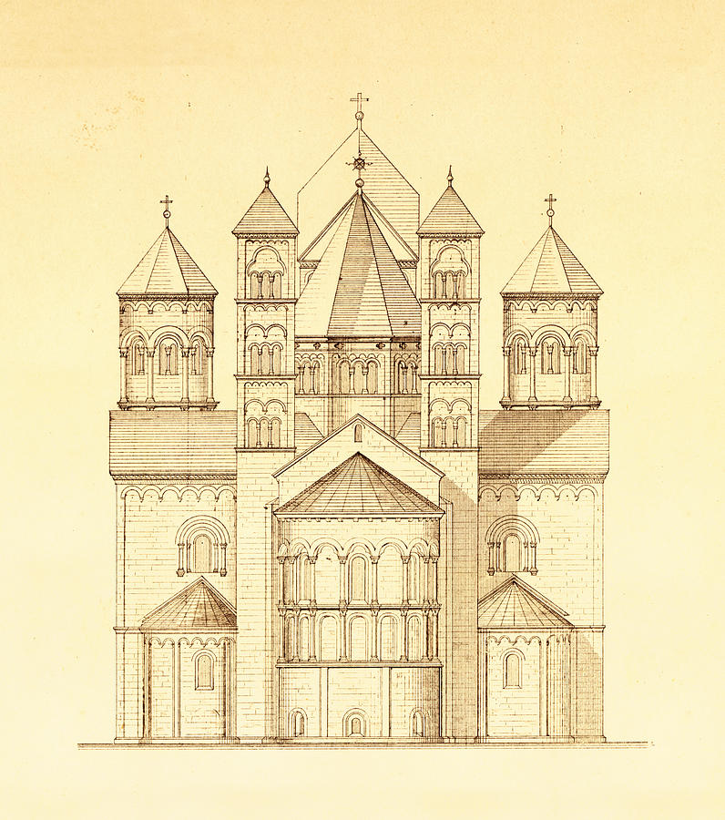 Architectural drawing of maria laach abbey in germany for Architecture antique