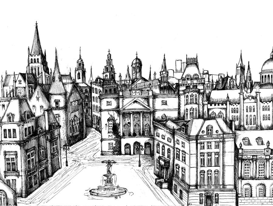 Architectural Evolution In An Urban Landscape 7 Drawing By James Falciano