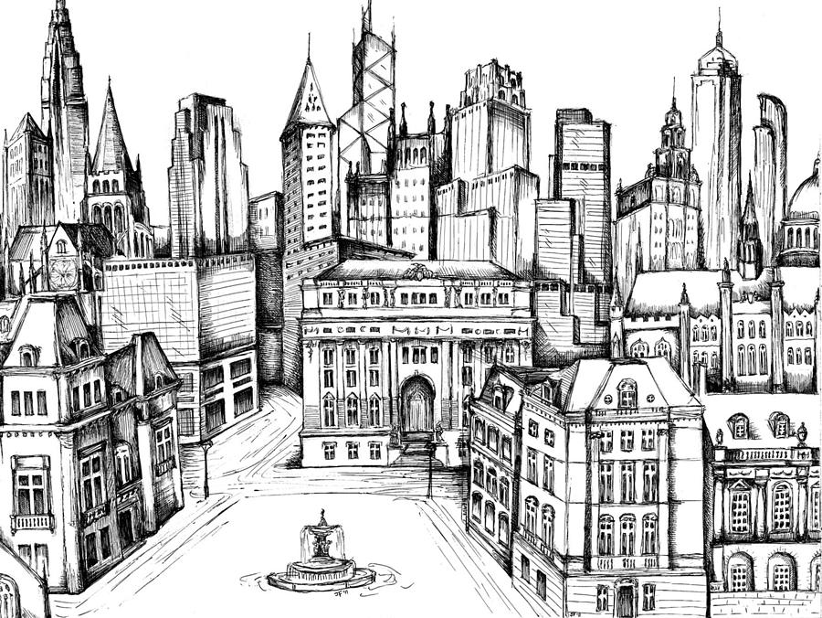 Architectural Evolution In An Urban Landscape 9 Drawing By James Falciano