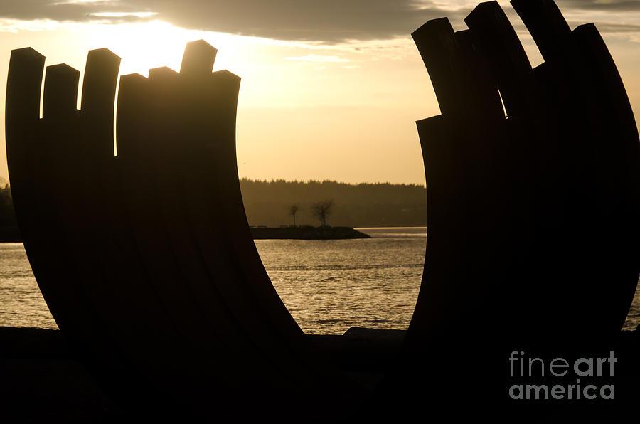 Sculpture Photograph - Arcs Sunset Bernar Venet Sculpture Sunset Beach Park Vancouver Bc Canada by Andy Smy