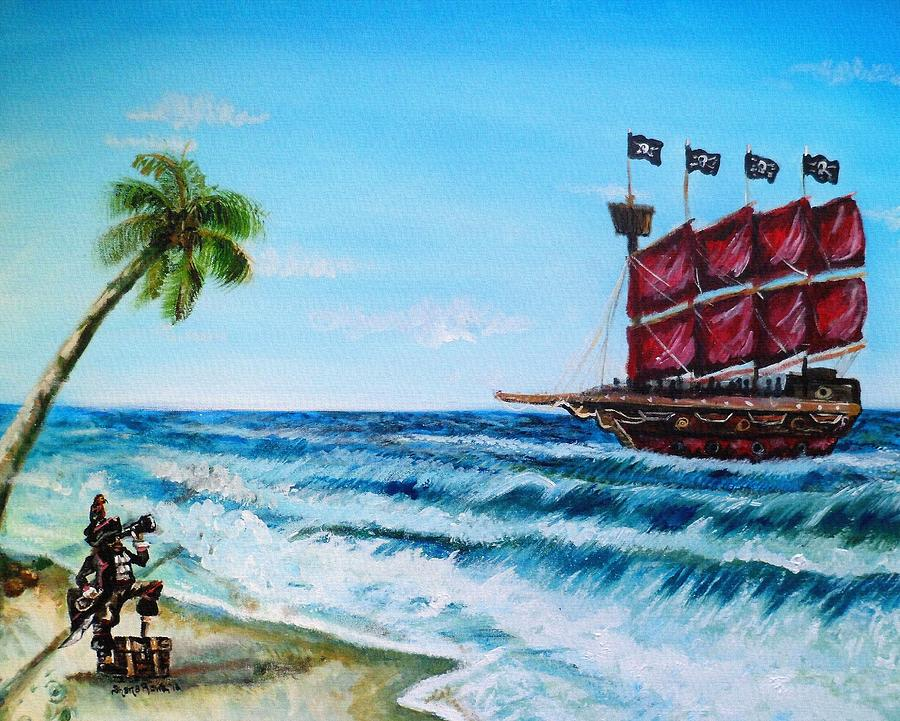 Pirate Painting - Argh bout Time Mateys by Shana Rowe Jackson