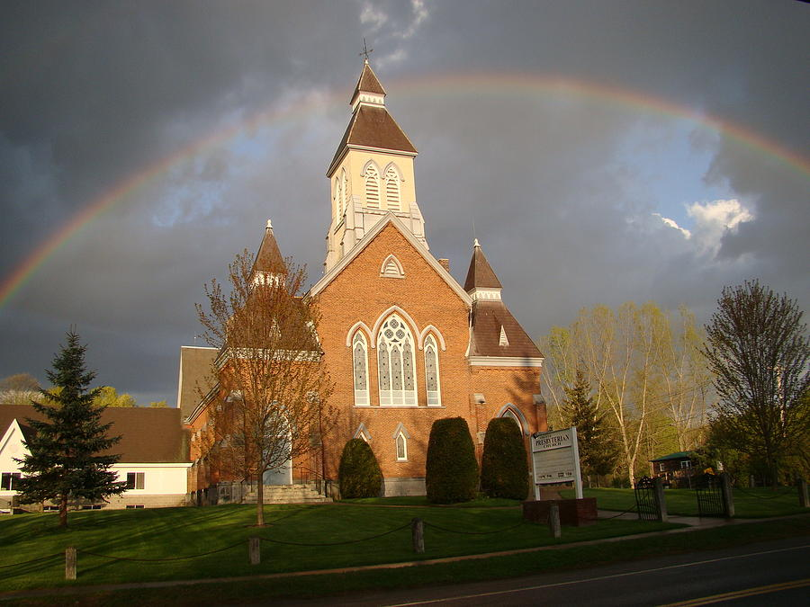 Rainbow Photograph - Argyle Presbyterian Church by Mark Haley