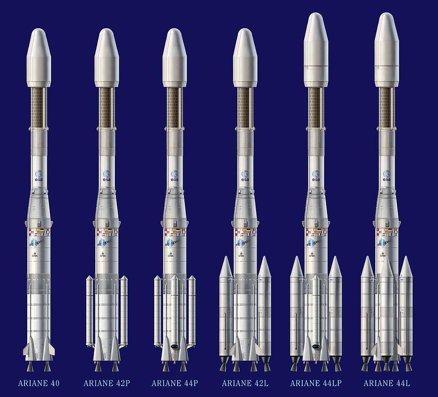 Spacecraft Photograph - Ariane 4 Rocket Versions, Artwork by David Ducros