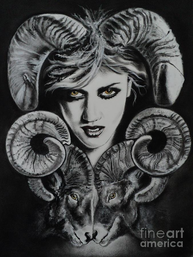 Aries The Ram Drawing by Carla Carson