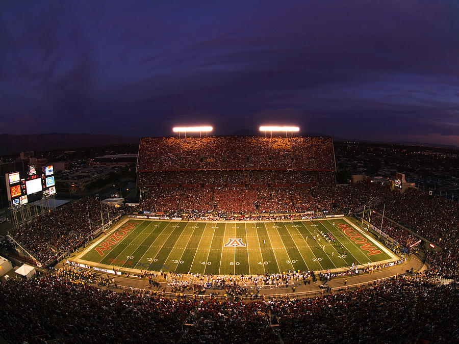 University Of Arizona Photograph - Arizona Stadium Under The Lights by J and L Photography