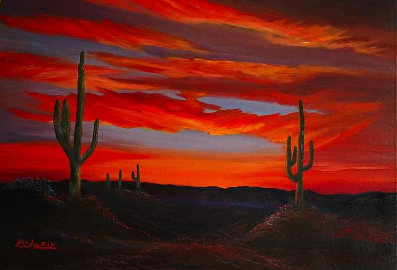 Clouds Painting - Arizona Sunset by Tom McAlpin