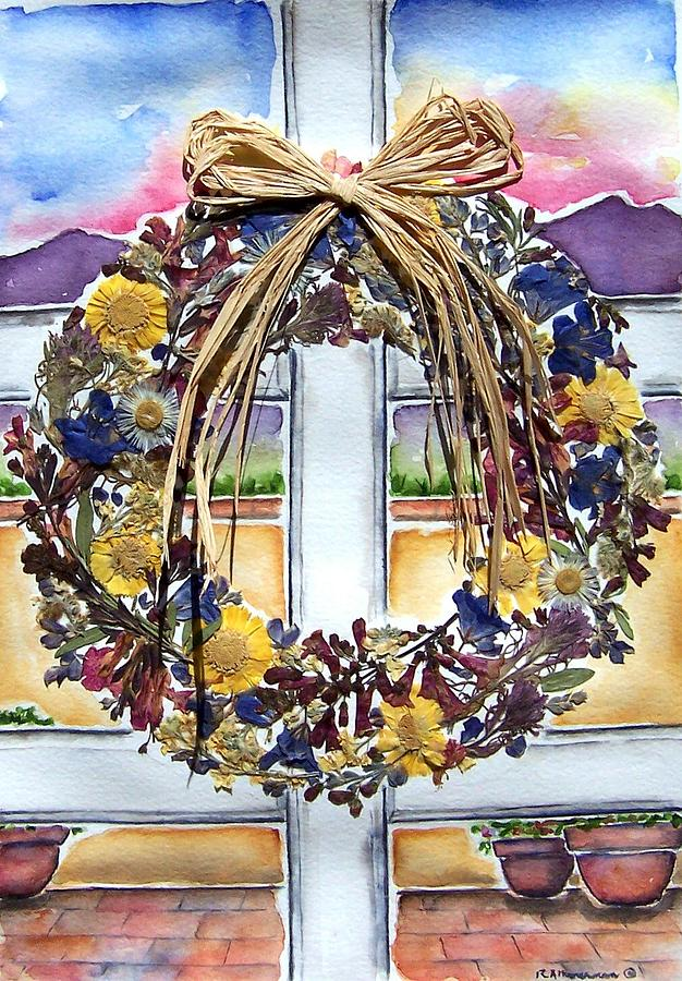 Wildflowers Painting - Arizona Wildflower Wreath by Regina Ammerman