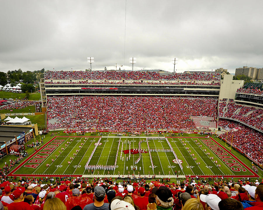 Razorbacks Photograph - Arkansas Marching Band Forms U-of-a At Razorback Stadium by Replay Photos