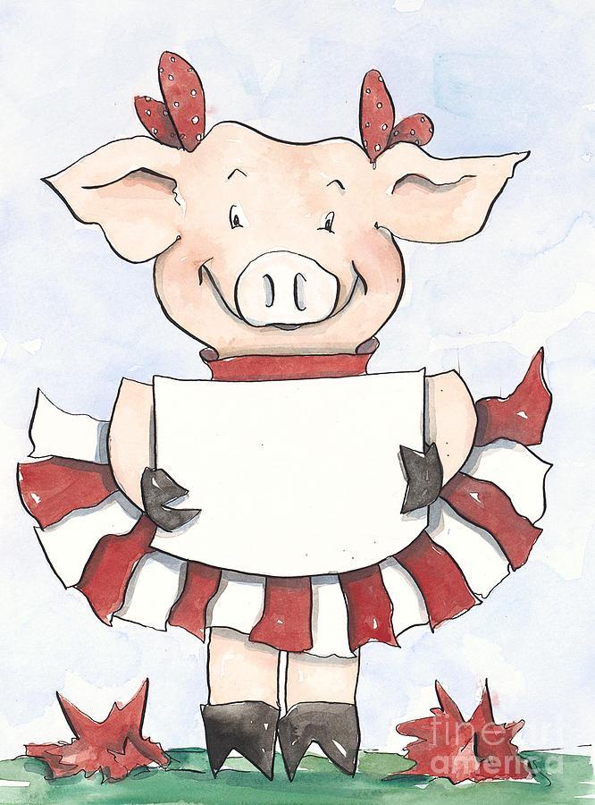 Arkansas Razorbacks Painting - Arkansas Razorback Cheer Piggy by Annie Laurie