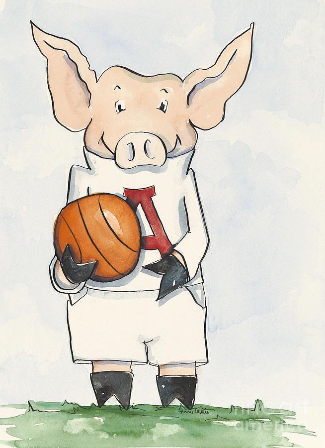 Arkansas Painting - Arkansas Razorbacks - Basketball Piggie by Annie Laurie