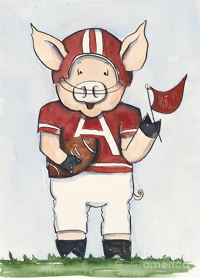 Arkansas Painting - Arkansas Razorbacks - Football Piggie by Annie Laurie