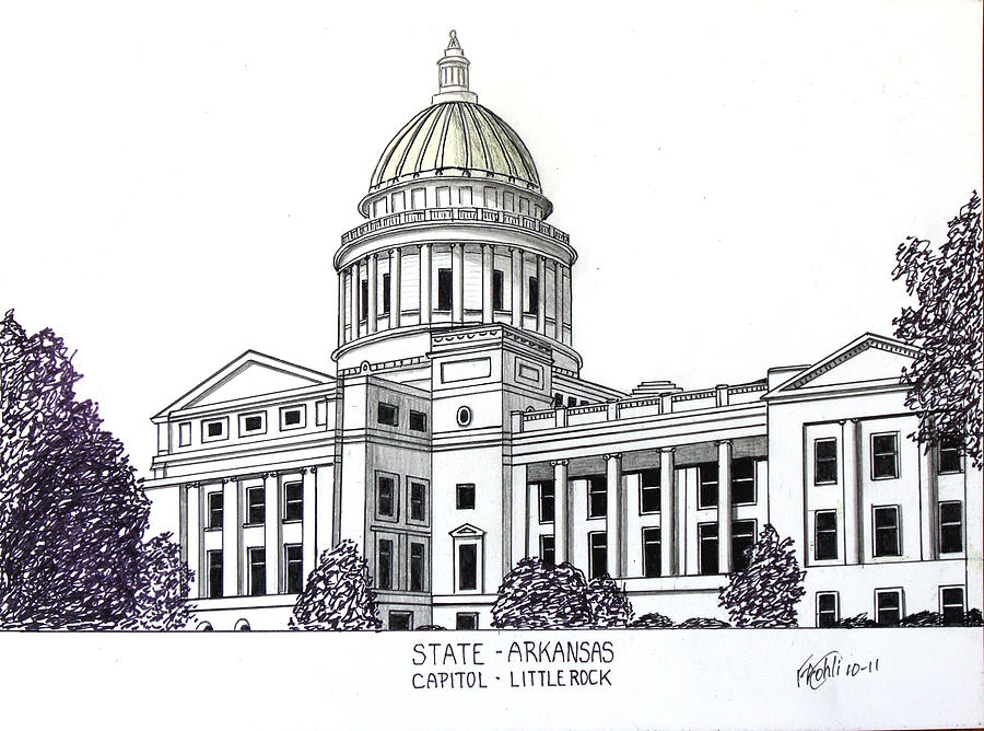 Arkansas State Capitol Drawing by Frederic Kohli