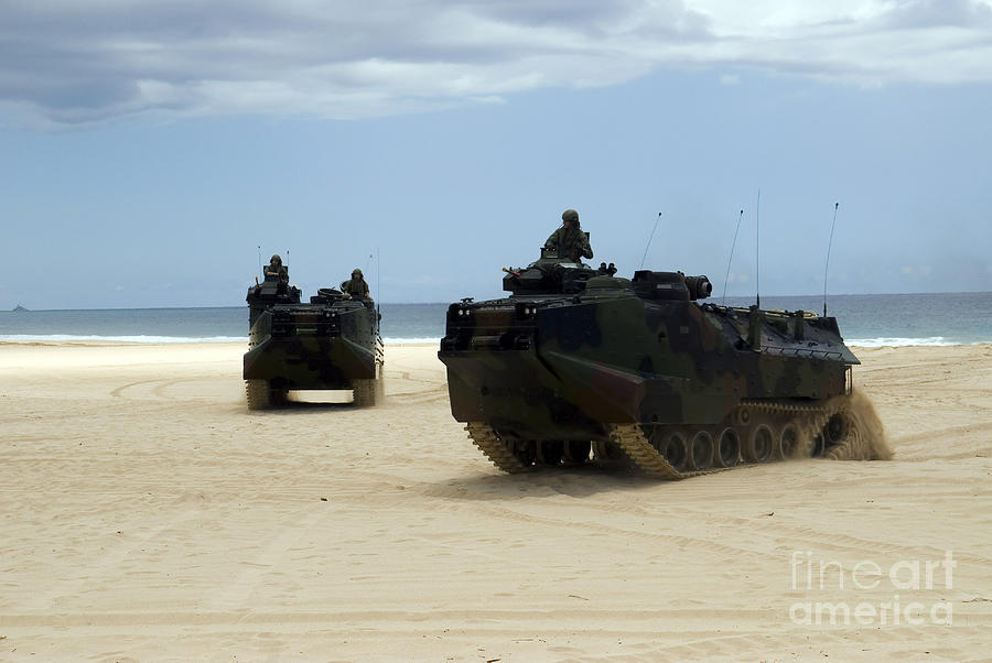 Hawaii Photograph - Armored Assault Vehicles Performing by Stocktrek Images