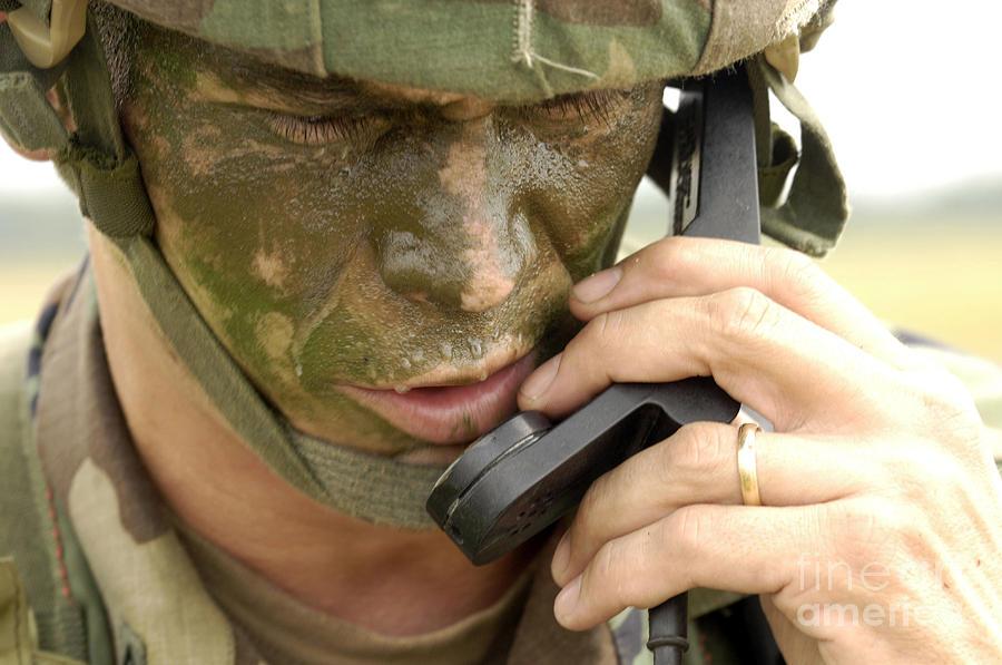 Horizontal Photograph - Army Master Sergeant Communicates by Stocktrek Images