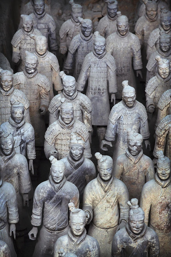 No People Photograph - Army Of Terracotta Warriors In Xian by Axiom Photographic