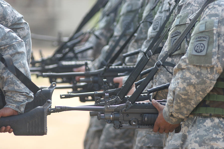 Defense Photograph - Army Rangers Marching In Formation by Skip Brown